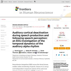 Auditory cortical deactivation during speech production and following speech perception: an EEG investigation of the temporal dynamics of the auditory alpha rhythm