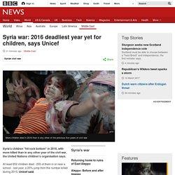 Syria war: 2016 deadliest year yet for children, says Unicef