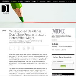Self-Imposed Deadlines Don't Stop Procrastination. Here's What Might.