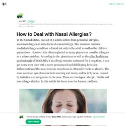 How to Deal with Nasal Allergies? – Kool MD – Medium