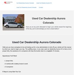 Used Car Dealership Aurora Colorado: Purchase Car