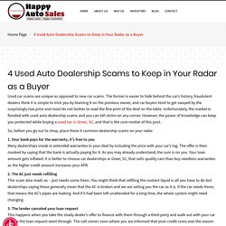 4 Used Auto Dealership Scams to Keep in Your Radar as a Buyer