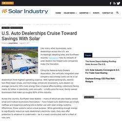 U.S. Auto Dealerships Cruise Toward Savings With Solar - Solar Industry