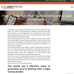 How To Make Sure That You Are Dealing with a Legal Money Lender