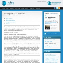 Dealing with noise problems - Noise Action Week