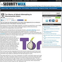 Tor Warns of Attack Attempting to Deanonymize Users