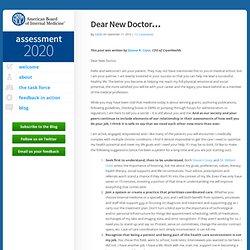 Dear New Doctor... - Assessment 2020 : Assessment 2020