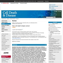Cell Death and Disease - How cell death shapes cancer
