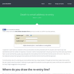 Death to email address re-entry