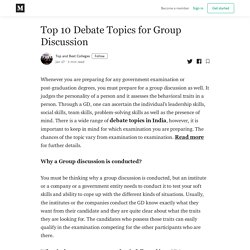 Top 10 Debate Topics for Group Discussion - Top and Best Colleges - Medium