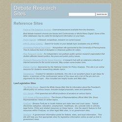 Debate Research Sites