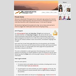 HOME PAGE - BLACKHEATH PHILOSOPHY FORUM