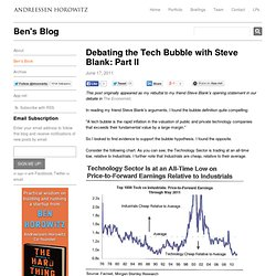 Debating the Tech Bubble with Steve Blank: Part II