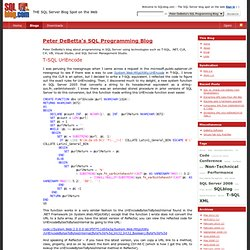 Peter DeBetta's SQL Programming Blog : T-SQL UrlEncode