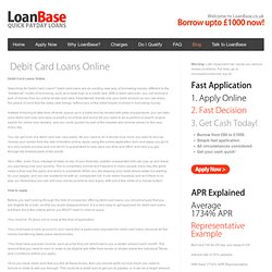 Debit Card Loans Online