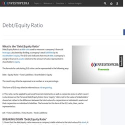 Debt/Equity Ratio Definition