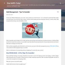 Debt Management - Tips To Consider