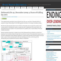 Debtwatch No 41, December 2009: 4 Years of Calling the GFC