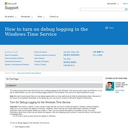How to turn on debug logging in the Windows Time Service