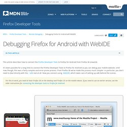 Debugging Firefox for Android with WebIDE - Firefox Developer Tools