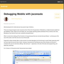 Debugging Mobile with jsconsole