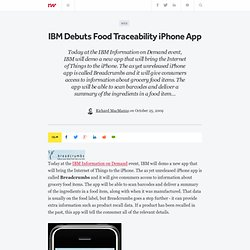 IBM Debuts Food Traceability iPhone App