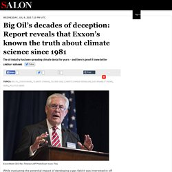 Big Oil's decades of deception: Report reveals that Exxon's known the truth about climate science since 1981