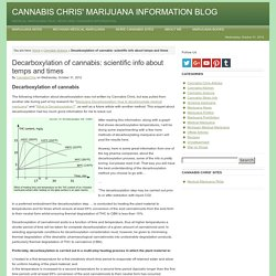 Decarboxylation of cannabis: scientific info about temps and times
