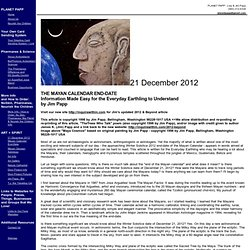 December 21, 2012 Mayan Calendar End-Date