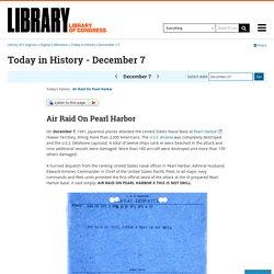 Naval Dispatch of Air Raid on Pearl Harbor