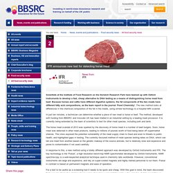 INSTITUTE OF FOOD RESEARCH 02/12/14 IFR announces new test for detecting horse meat