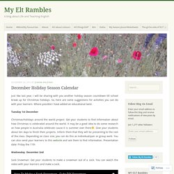December Holiday Season Calendar – My Elt Rambles