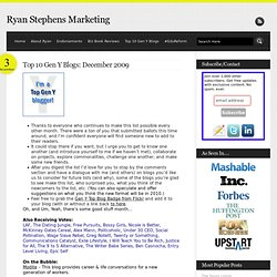 Ryan Stephens Marketing » Top 10 Gen Y Blogs: December 2009