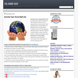 ESL Made Easy: December Topic: Human Rights Day