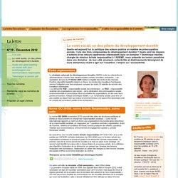 Lettre N°19 - Décembre 2012 - Le volet social, un des piliers du développement durable / ADEME - Eco-acteurs Ensemble