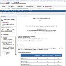 LOI n° 2016-1917 du 29 décembre 2016 de finances pour 2017