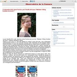 """Irène Frachon, prix Tartuffe 2010 pour""""Mediator 150mg. Combien de morts?"""""""