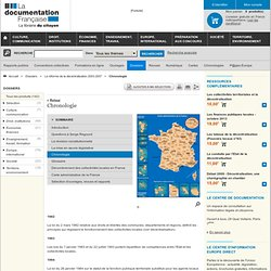 Chronologie - La réforme de la décentralisation 2003-2007 - Dossiers