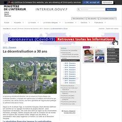 La décentralisation a 30 ans / 2012 - Dossiers / Archives des dossiers / Archives