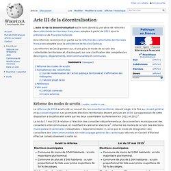 Acte III de la décentralisation