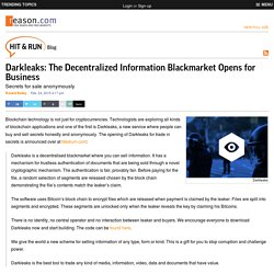 Darkleaks: The Decentralized Information Blackmarket Opens for Business