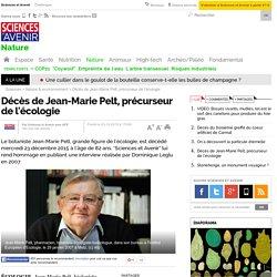 Décès de Jean-Marie Pelt, précurseur de l'écologie
