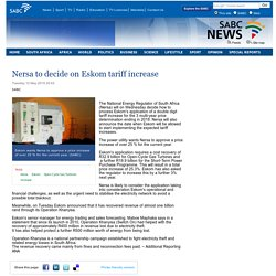 Nersa to decide on Eskom tariff increase:Tuesday 12 May 2015