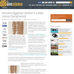 Ancient Egyptian Soldier's Letter Home Deciphered