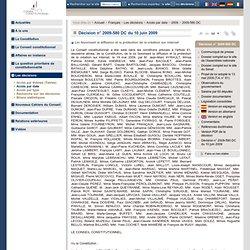 Décision n° 2009-580 DC du 10 juin 2009