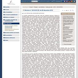 Décision n° 2010-618 DC du 09 décembre 2010