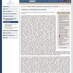 Décision n° 2011-625 DC du 10 mars 2011