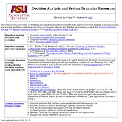 Decision Analysis and System Dynamics Resources