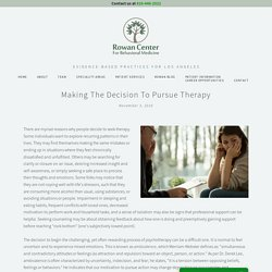 Making the Decision to Pursue Therapy — Rowan Center for Behavioral Medicine