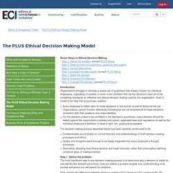 The PLUS Ethical Decision Making Model - Ethics & Compliance Initiative (ECI)